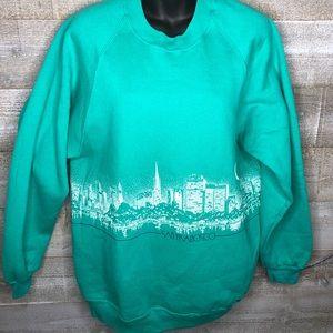 Sweaters - Vintage 80s 90s teal San Francisco skyline sweater